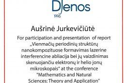 """MMI doktorantės sėkmė konferencijoje """"Matematika ir gamtos mokslai: teorija ir taikymas"""""""